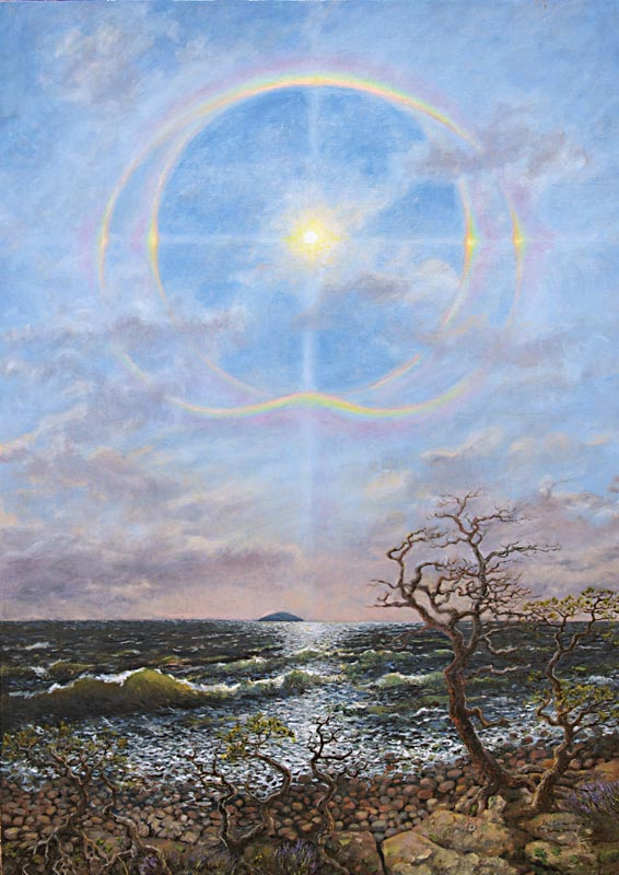 Dubbelhalo över Blå Jungfun, olja på duk, 92x130 cm
